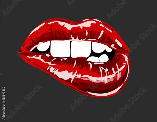 Red lips open mouth
