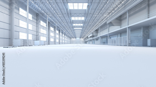 Fotografie, Obraz  Abstract isolated factory and warehouse room background for industry 3D Renderin