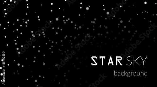 Night Sky With White Stars On Black Background Dark Astronomy Space Template Galaxy Starry