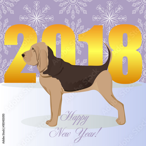 Fotografie, Tablou Happy new year card with bloodhound