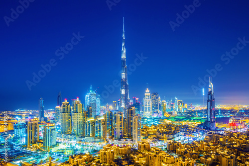 Beautiful view on Dubai downtown skyline, Dubai, United Arab Emirates Wallpaper Mural