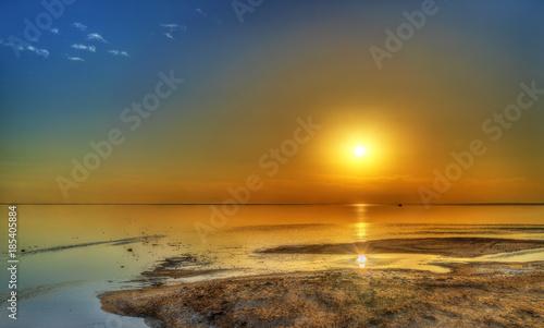 Poster Tunesië Sunset above Chott el Djerid, a dry lake in Tunisia