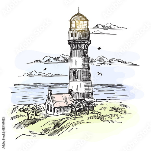 Fotomural Sketch of island with lighthouse at ocean waters