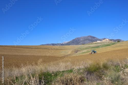 Spoed Foto op Canvas Natuur plowing soil