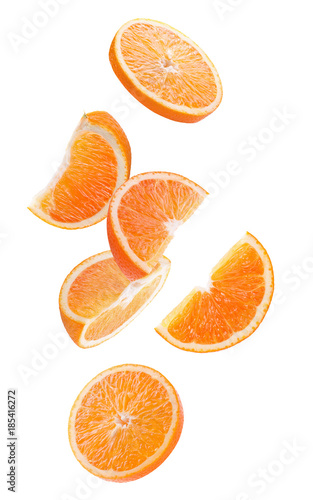 orange slices isolated on a white background Wall mural