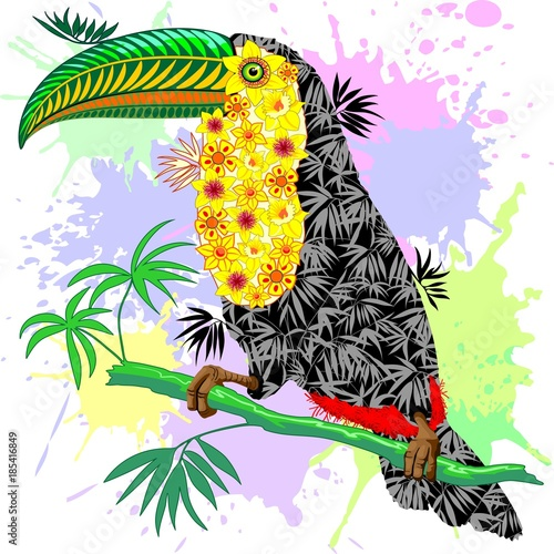 Deurstickers Draw Toucan Floral Pattern Wild Bird from Amazon Rainforest
