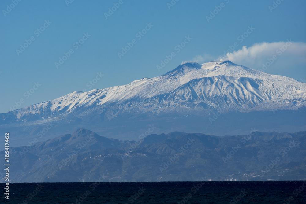 Fényképezés  Landscape of ETNA MOUNT WITH SNOW