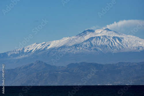 Landscape of ETNA MOUNT WITH SNOW Wallpaper Mural