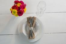 Elegance Table Setting On Wood...