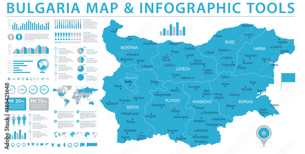 Fototapety, obrazy: Bulgaria Map - Info Graphic Vector Illustration