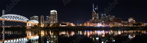 Photo  Nashville Skyline at Night with Shelby Street Pedestrian