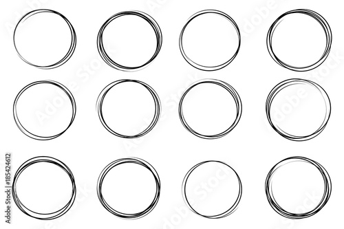 Obraz Creative vector illustration of hand drawning circle line sketch set isolated on transparent background. Art design round circular scribble doodle. Abstract graphic element for message note mark - fototapety do salonu