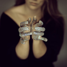 Beautiful Woman Hands With Gli...