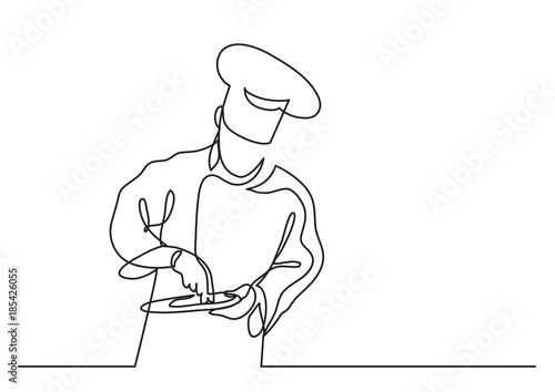 continuous line drawing of chef cooking gourmet meal Fototapeta