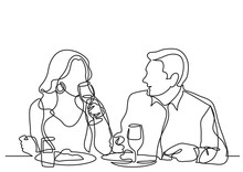 Continuous Line Drawing Of Couple Dining In Restaurant