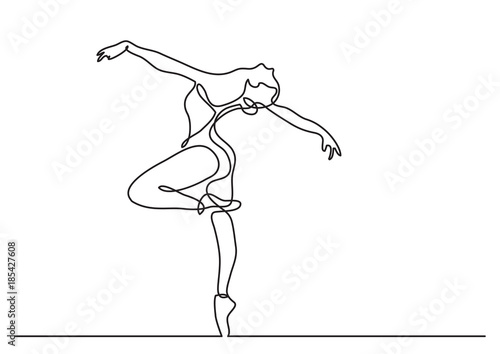 continuous line drawing of woman ballet dancer Wallpaper Mural