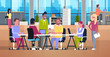 Casual Business People Working Together In Coworking Office Modern Team Metting Mix Race Businesspeople Sitting At Desk In Coworking Center Flat Vector Illustration