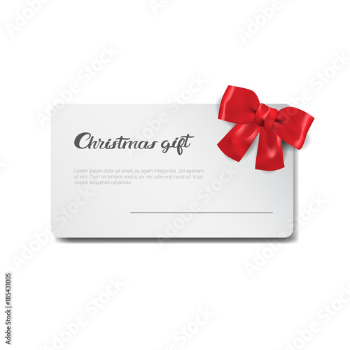 Christmas Gift Card New Year Present Certificate Template Icon Flat