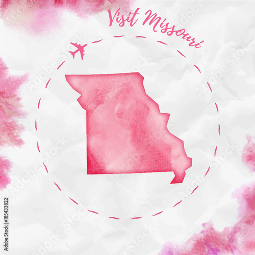 Missouri watercolor us state map in red colors. Visit ...