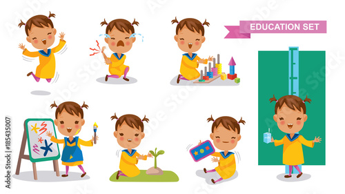 Preschoolers of Education set  Cute Little Girl  Jumping