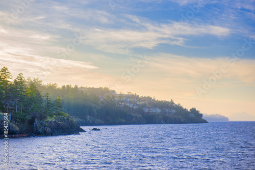 Photo  Ocean view from Neck Point park in Nanaimo at sunset, Vancouver Island