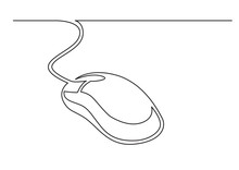 One Line Drawing Of Isolated Vector Object - Wired Computer Mouse
