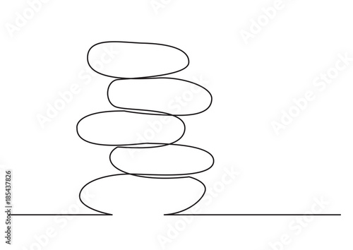 Photo one line drawing of isolated vector object - rock balancing
