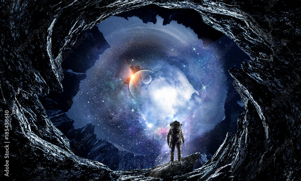 Fototapety, obrazy: Space hole and astronaut. Mixed media
