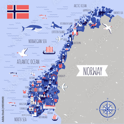 Fototapeta Norway travel cartoon vector map, norwegian landmark Brygge, Lindesnes Lighthous