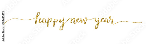 HAPPY NEW YEAR 2018 hand lettered card in gold Canvas Print