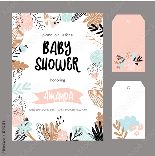 Fototapeta Baby Shower Invitation Template Floral Design Elements For Decoration Baby Shower Holiday Greeting Cards Vector