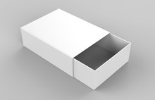 Realistic Package Cardboard Sliding Drawer Box Grey Background. For Small Items, Matches, And Other Things. 3d Render Illustration