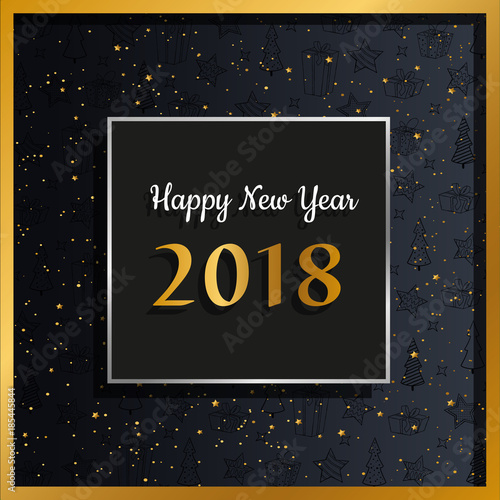 happy new year 2018 elegant card with gold silver and stardust vector illustration