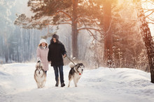 Girl And Man Is Playing, Run With Dog In Snow, New Year's Holidays, Rest In Nature In Winter.