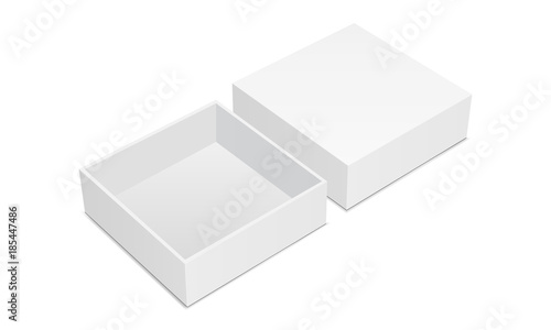 Fototapeta Empty square box mockup with lid isolated on white background. Vector illustration obraz