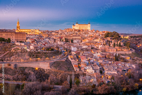 Foto op Aluminium Napels Panorama of Toledo on the sunset and twilight in Spain, Europe