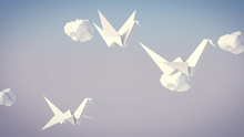 WhiteOrigami Cranes And Clouds