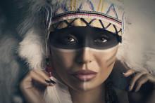 Indian Woman Closeup Portrait Studio Shot