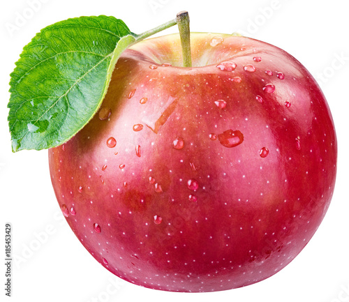 Ripe red apple with water drops. Fototapete