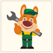 Funny rabbit wearing overalls with the large wrench on her shoulder. Mechanic rabbit in cartoon style shows like.