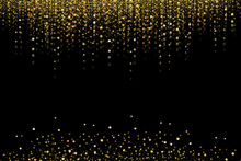 Gold Glitter, Snowing Or Raining Of Grainy Particles. Explosion Of Festive Confetti. Overlay Texture, Isolated On Black Background