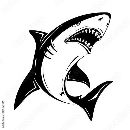 Fototapeta premium Ilustracja wektorowa zły czarny rekin na białym tle. Idealny do nadruku na koszulkach, kubkach, czapkach, logo, maskotkach lub innych projektach reklamowych