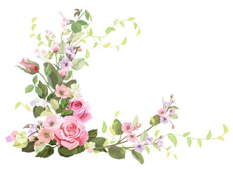 NaklejkaAngled frame with roses, spring blossom (bloom), branches with mauve, pink apple tree flowers, buds, green leaves on white background. Digital draw, illustration in watercolor style, vintage, vector