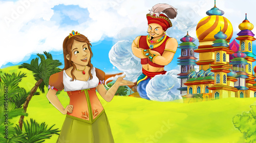Papiers peints Chateau cartoon fairy tale scene with beautiful princess near big castle and flying giant sorcerer illustration for children