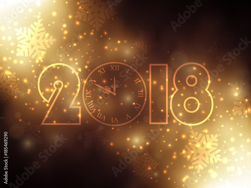 new year background with gold clock gold glitter stardust background vector illustration