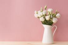 White Roses In Vintage Vase