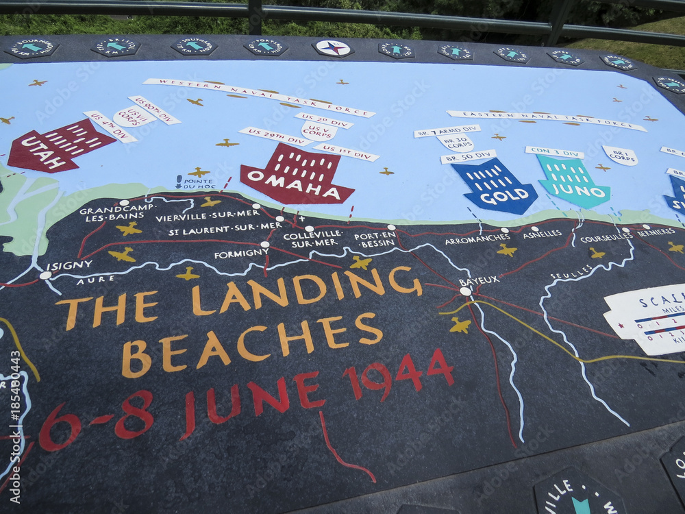Fototapeta Omaha Beach, Normandy, France. Map of the landing Beaches of the Allied invasion of German-occupied France in the Normandy landings on 1944, during World War II.
