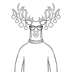Christmas deer with toys coloring book vector