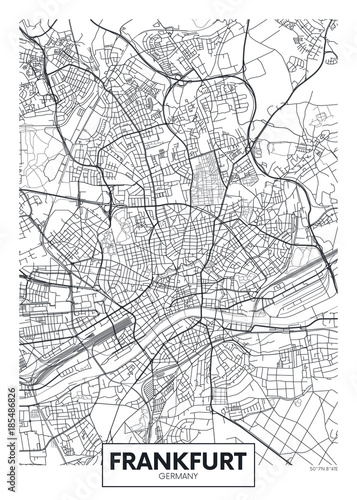 Detailed vector poster city map Frankfurt Фотошпалери