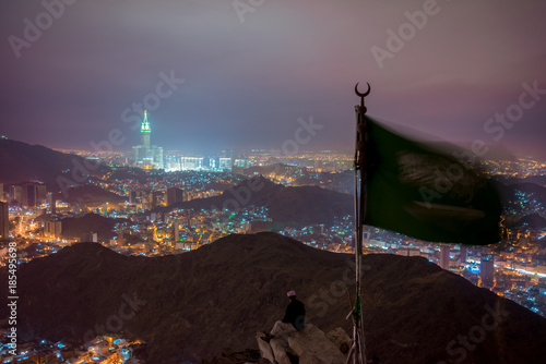 Mecca city view from Hira cave at night.